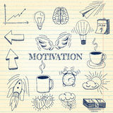 Hand drawn vector illustration set of motivation and buisness sign and symbol doodles elements, notebook background. Vector - Hand drawn vector illustration set Royalty Free Stock Images