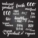 Hand drawn vector illustration - Set of organic food labels. Org. Anic and vegan food. Perfect for cards, quotes, stickers, blogs, posters and more Stock Photography