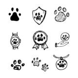Hand Drawn vector illustration set of paws sign and symbol doodl royalty free illustration