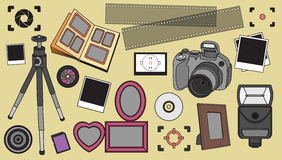 Hand drawn vector illustration set of photography sign Stock Image