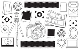 Hand drawn vector illustration set of photography sign Royalty Free Stock Photography