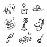 Hand drawn vector illustration set of plumbing sign and symbol d royalty free illustration