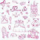 Hand drawn vector illustration set of princess sign, Castel, throne and carriage, magic wand, mirror, stuffed toy, croun and jewle Stock Photos