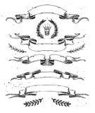 Hand drawn vector illustration - set of ribbons, laurels Stock Photo