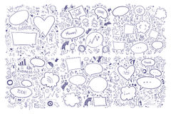 Hand drawn vector illustration. Set of speech bubbles and others Stock Photo