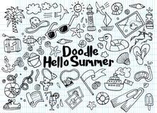 Hand drawn vector illustration set of summer doodles elements. Stock Images