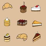 Hand drawn vector illustration set: sweet cakes. Vector illustration for your design: sweet cakes and pastries, croissant, cupcake Stock Image