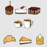 Hand drawn vector illustration set: sweet cakes an. Vector illustration for your design: sweet cakes and pastries with cups of coffee and tee Stock Image