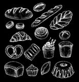 Hand drawn vector illustration - Set with sweet and dessert (cro Royalty Free Stock Image