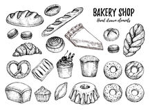 Hand drawn vector illustration - Set with sweet and dessert cro Royalty Free Stock Photography