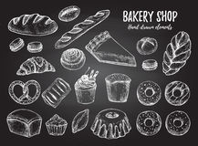 Hand drawn vector illustration - Set with sweet and dessert cro Royalty Free Stock Image
