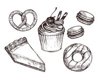 Hand drawn vector illustration - Set with sweet and dessert Royalty Free Stock Photos