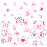 Hand drawn vector illustration set of tea party with stuffed toys, tea pot, cups, pancakes, sweets birds and butterflies, cute ite. Ms doodles elements Stock Photos