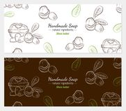 Hand drawn vector illustration of shea butter. On white and color background for handmade soap wrapper. Organic natural healthy product. Great for banner stock illustration