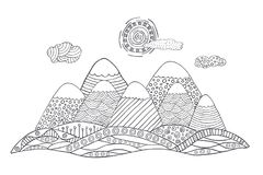 Mountains with cute sun and clouds. Vector landscape in black and white. Hand drawn vector illustration with simple patterns. Mountains silhouette in doodle Royalty Free Stock Photos