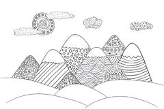 Mountains with cute sun and clouds. Vector landscape in black and white. Hand drawn vector illustration with simple patterns. Mountains silhouette in doodle Stock Photos