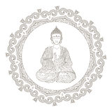 Hand drawn vector illustration of Sitting Buddha Royalty Free Stock Photography