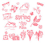 Hand-drawn vector illustration - spring icons. Doodle set Stock Photos