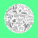 Hand-drawn vector illustration - spring icons. Doodle set Royalty Free Stock Images