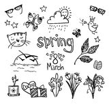 Hand-drawn vector illustration - spring icons. Doodle set Stock Images