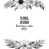 Hand Drawn Vector Illustration Square Frame With Flowers And L