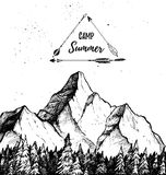 Hand drawn vector illustration - Summer camp. Mountain and fores Stock Photo