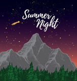 Hand drawn vector illustration - Summer night with Starry sky. L Royalty Free Stock Photography