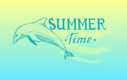 Hand-drawn vector illustration - Summer time. Lettering with pic Royalty Free Stock Photos