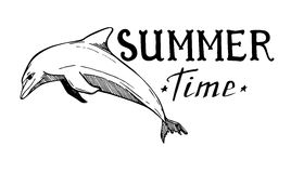 Hand-drawn vector illustration - Summer time. Lettering Stock Photography