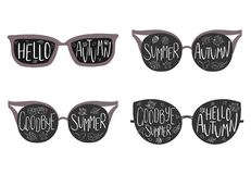 Goodbye Summer, Hello Autumn glasses stock illustration