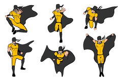 Hand drawn vector illustration. Superhero models in various poses. Royalty Free Stock Photo