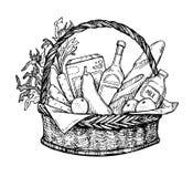 Hand drawn vector illustration - Supermarket shopping basket Stock Photo