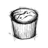 Hand drawn vector illustration - Sweet cake with chocolate drop. Stock Photography