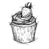 Hand drawn vector illustration - Sweet cupcake with strawberry. Stock Image