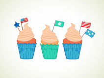 Hand drawn vector illustration - Sweet cupcakes with decorations Royalty Free Stock Photography