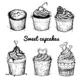 Hand drawn vector illustration - Sweet cupcakes. St. Valentines Royalty Free Stock Photo