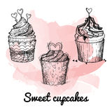 Hand drawn vector illustration - Sweet cupcakes. St. Valentines Royalty Free Stock Images