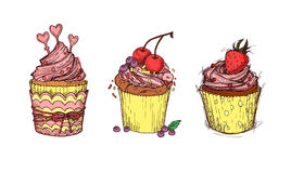 Hand drawn vector illustration - Sweet cupcakes. Stock Images