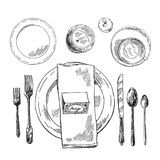Hand drawn vector illustration table setting. Vintage sketch style stock illustration