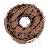 Hand drawn vector illustration- Tasty chocolate donut.  Royalty Free Stock Photo