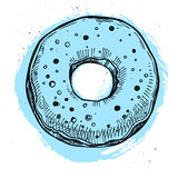 Hand drawn vector illustration- Tasty donut. Royalty Free Stock Images