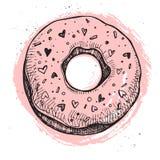 Hand drawn vector illustration- Tasty raspberry donut.  Royalty Free Stock Photo