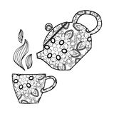 Hand drawn Vector illustration.Teapot and cup. Stock Image