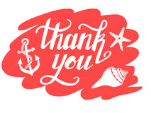 Hand-drawn vector illustration - Thank you. Hand lettering. Royalty Free Stock Photography