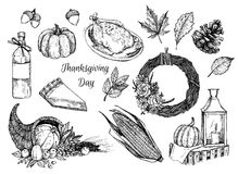 Hand drawn vector illustration - Thanksgiving day. Design elements Royalty Free Stock Photography