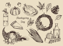 Hand drawn vector illustration - Thanksgiving day. Royalty Free Stock Photos