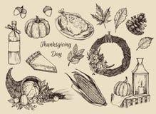 Hand drawn vector illustration - Thanksgiving day. Royalty Free Stock Photos
