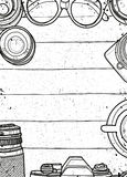Hand Drawn Vector Illustration ,Top view of retro camera and len royalty free illustration