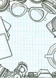 Hand Drawn Vector Illustration ,Top view of retro camera stock illustration