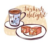 Vector illustration with turkish delight Stock Photo
